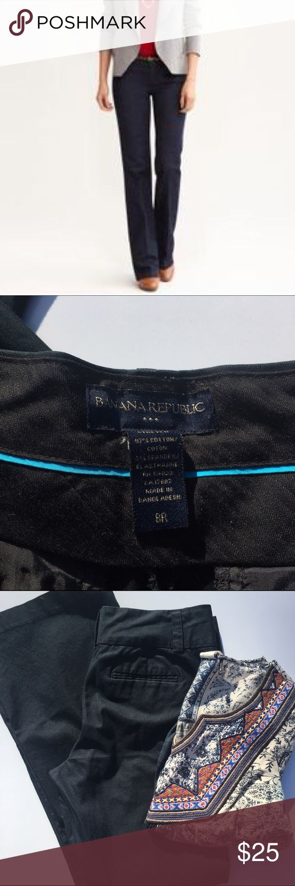 """Banana Republic Navy Stretch Chino Trousers Banana Republic Navy Stretch Trousers in size 8R. Pre-loved, but have a lot of use left in them. 97% cotton, 3% spandex for a comfortable fit. Approximate inseams: 31"""" inches. Banana Republic Pants Trousers"""