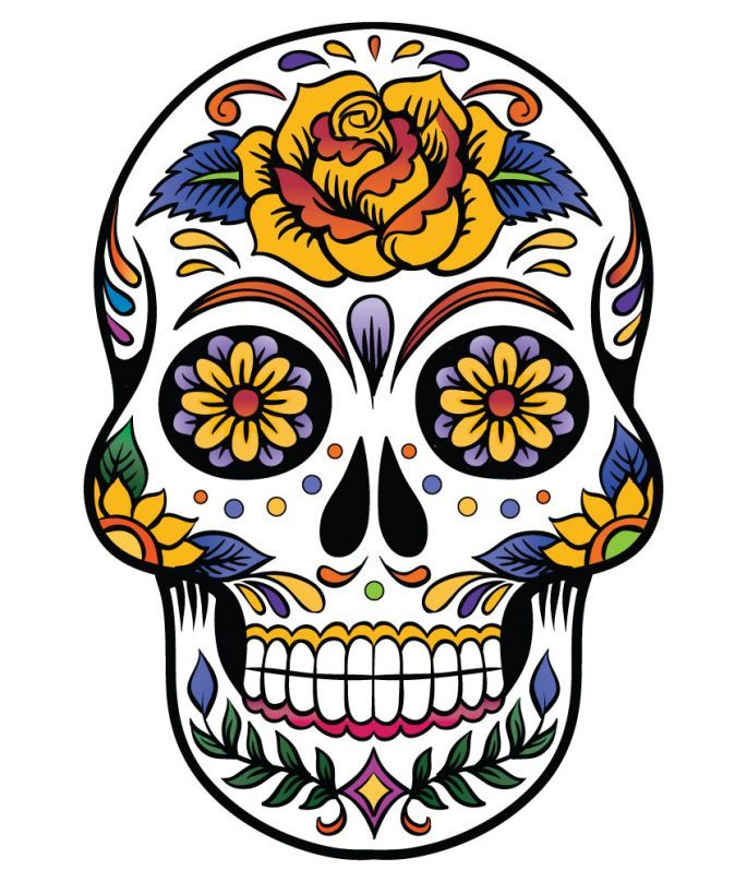 Best 20+ Mexican Skull... Skull And Flower Designs