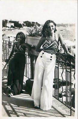1930s beach pyjamas pajamas long white sailor button pants wide leg fashion style found photo