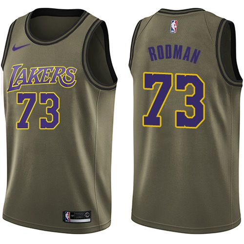 71acd70d0 Nike Lakers  73 Dennis Rodman Green Salute to Service NBA Swingman Jersey