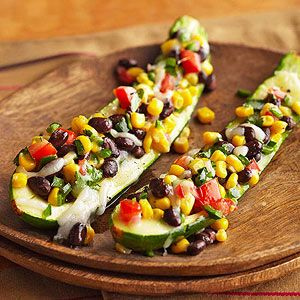 Stuffed Zucchini with Black Beans, Corn, and Poblano Pepper From Better Homes and Gardens, ideas and improvement projects for your home and garden plus recipes and entertaining ideas.