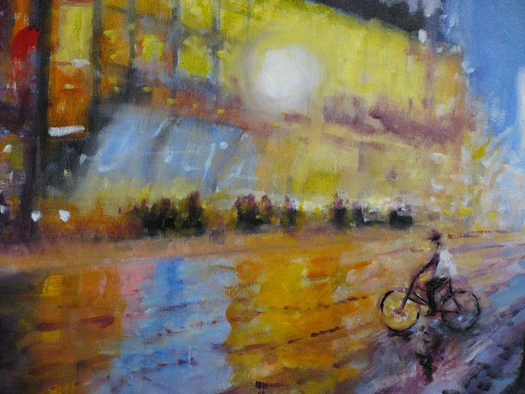FINEARTSEEN - View City Rain by Nikki Rosetti. A beautiful original oil painting of the city at night. Available on FineArtSeen - The Home Of Original Art. Enjoy Free Delivery with every order. << Pin For Later >>