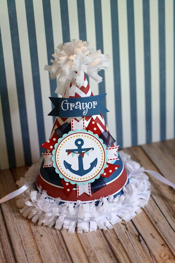 Nautical Birthday Party Hat Anchor Party Hat by thelovelyapple, $16.00