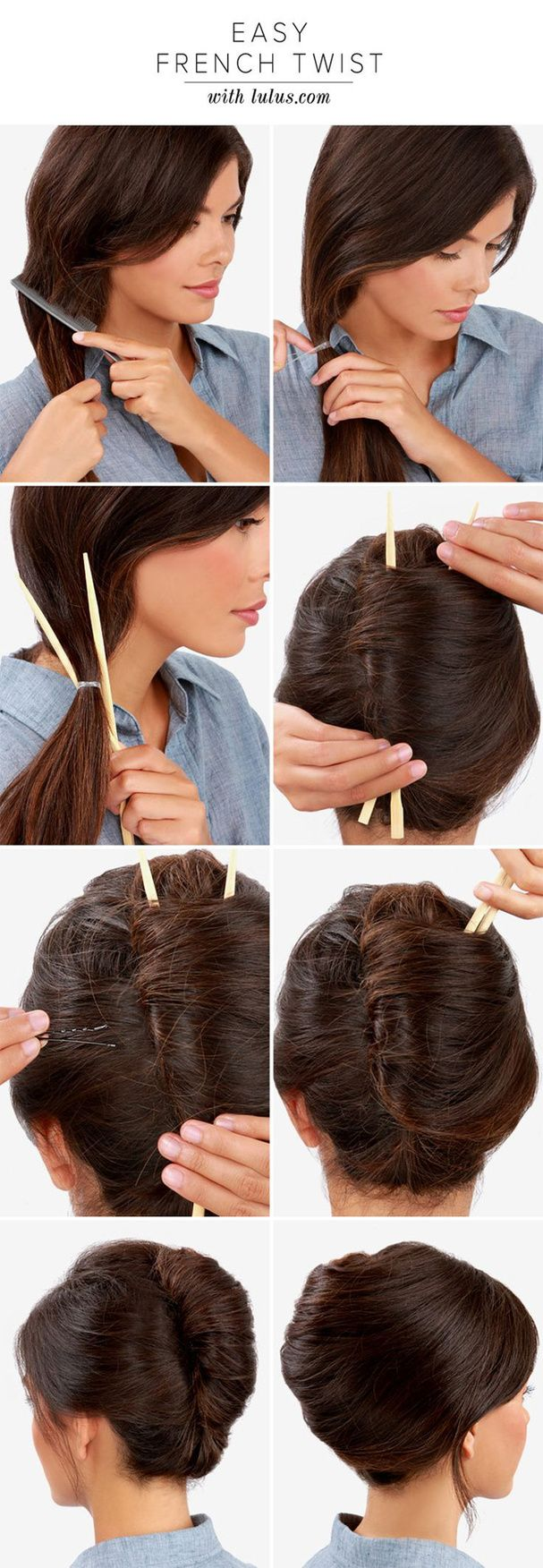 Le chignon banane avec des baguettes / easy french twist #hairstyle