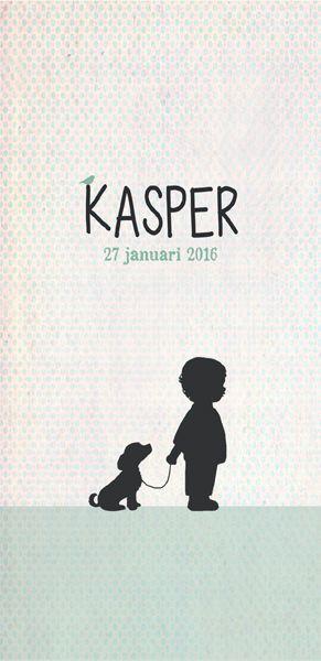 Geboortekaartje Kasper - voorkant - Pimpelpluis - https://www.facebook.com/pages/Pimpelpluis/188675421305550?ref=hl (# jongen - silhouet - hondje - munt - origineel)