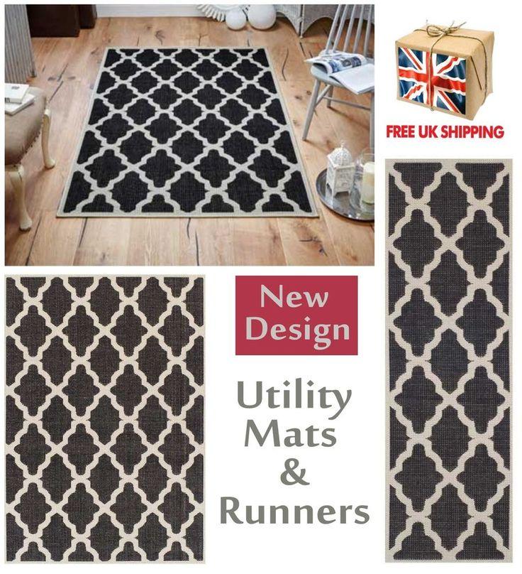 Trellis Flatweave Utility Mats Kitchen Rugs Hall Runners Black Anti Slip Gel