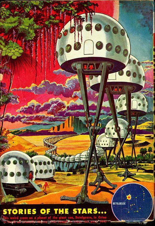 Stories of the Stars ( retro futurism - vintage future / space home / future house / retro illustration / book cover  / vintage science fiction / retro sci fi)