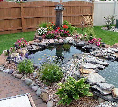 small, stone, pond: Gardens Ideas, Gardens Ponds, Backyard Patio, Water Gardens, Backyard Ponds, Water Features, Koi Ponds, Fish Ponds, Ponds Ideas
