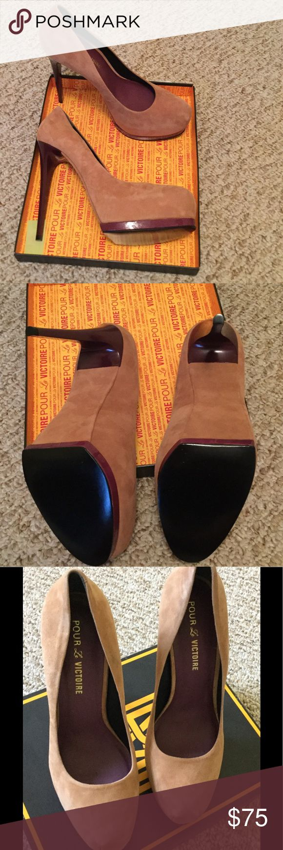 Pour la Victoire Zimmer size 9, new in box Camel HIGH Heels. Never worn. 6 inch heel with platform. Pour La Victoire Shoes Heels