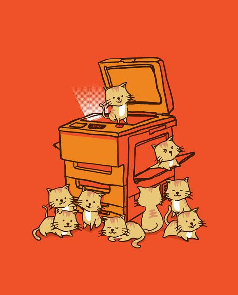 The Original Copycat Art Print. If only this was real (although I'd have no idea where to put all the kitties).