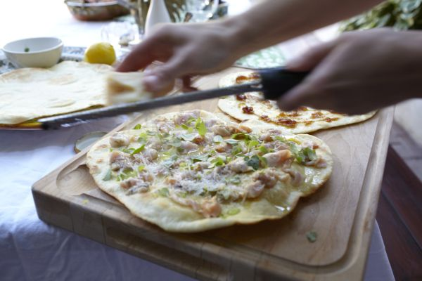 AJ and ANNA's famous White Clam Pizza!