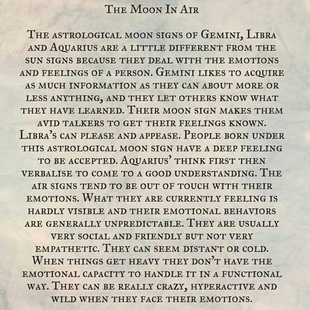 Astrology: Moon in Air Signs (Gemini, Libra, Aquarius Zodiac Signs)