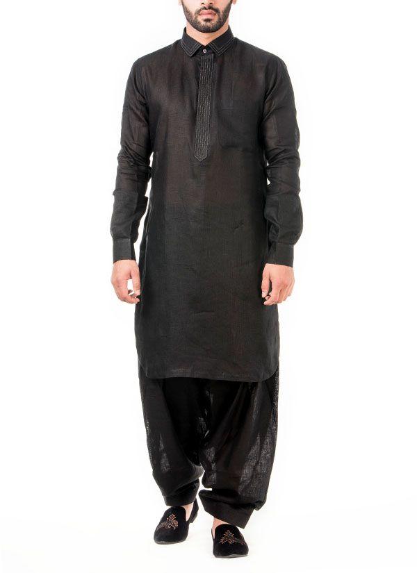 Abhipri Abhipri Black Linen Pathani Kurta Shop Kurtas At Strandofsilk Com Mens Hottest Fashion Designer Suits For Men Kurta Men