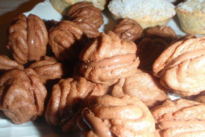 Stříkané kakaové cukroví s nutelou