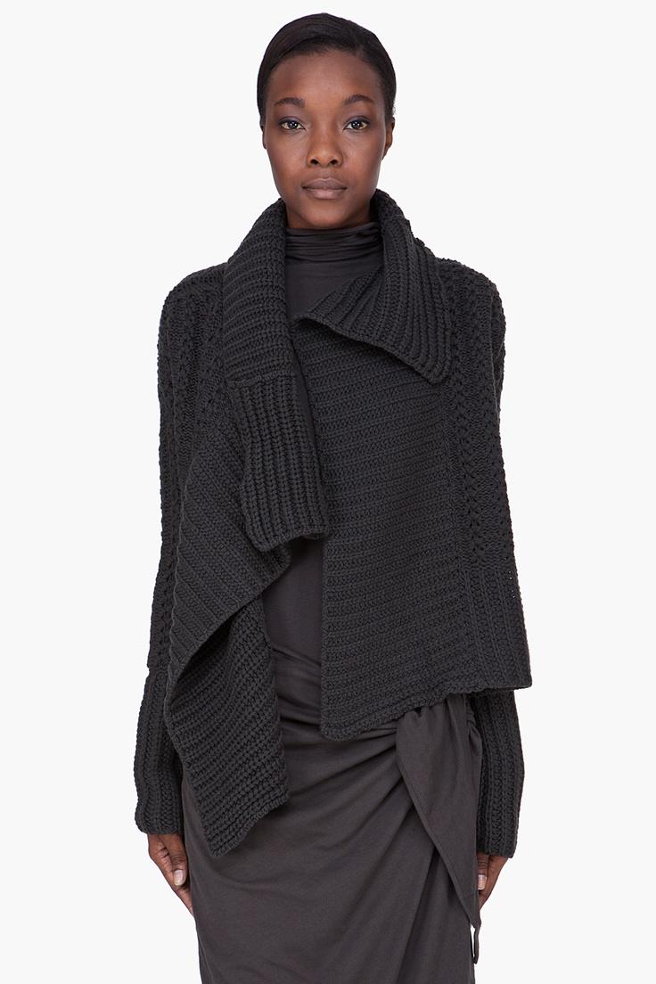 DAMIR DOMA Damir Doma Charcoal Wool Cashmere Knit Cardigan