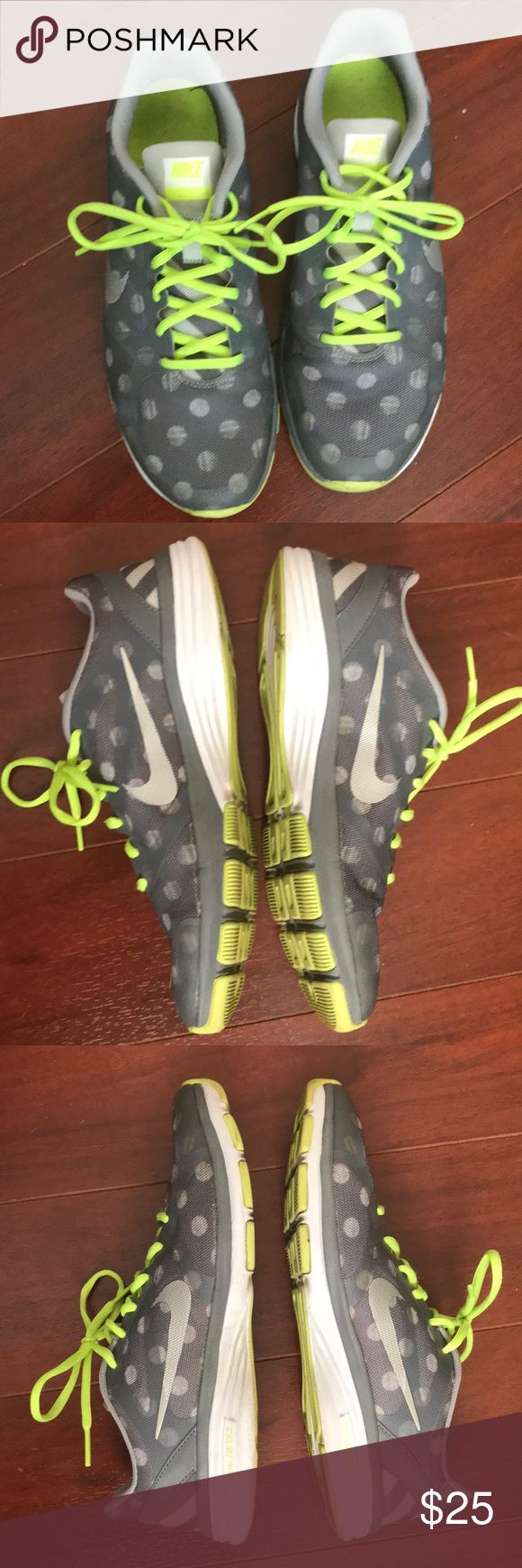 Nike Dual Fusion TR Polka Dot Sneakers Size 8.5 Great running shoes from Nike. Size 8.5. There are some signs of use, such as normal wear to soles and insoles, but there is still a lot of life left in these. Gray polka dot pattern with neon green acccents. Nike Shoes Athletic Shoes