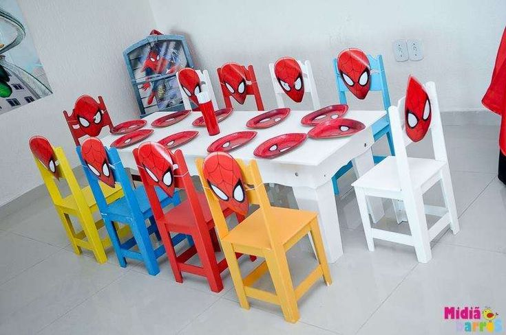 Fun table at a Superhero Spiderman boy birthday party! See more party planning ideas at CatchMyParty.com!