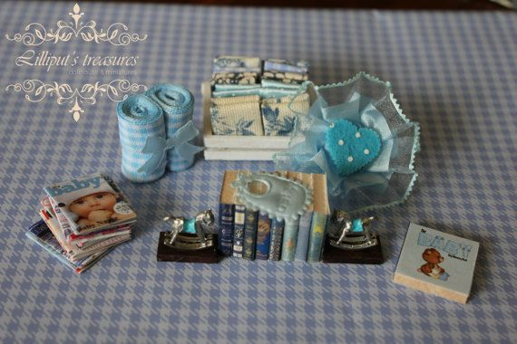 Dollhouse miniature set for baby boy  IT'S A by Lilliputstreasures