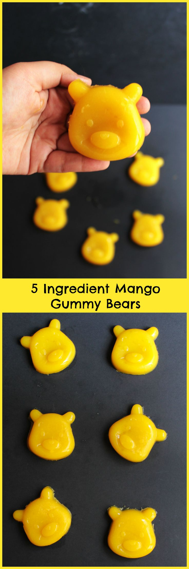 Delicious mango gummy bears made from just 5 ingredients. Made from fresh mango puree and orange juice. Just one tablespoon of added sugar. Ready in an hour.: