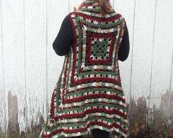 Abuela cuadrados sueter chaleco, suéter de boho, hippie suéter de ganchillo, ganchillo chaqueta suéter, chaleco del suéter, cuadrado de la abuela, suéter sin mangas