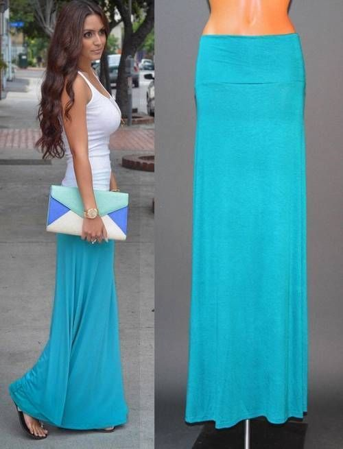 BLUE FOLD OVER WAIST BANDED MINIMALIST JERSEY KNIT FULL LENGTH LONG MAXI SKIRT S