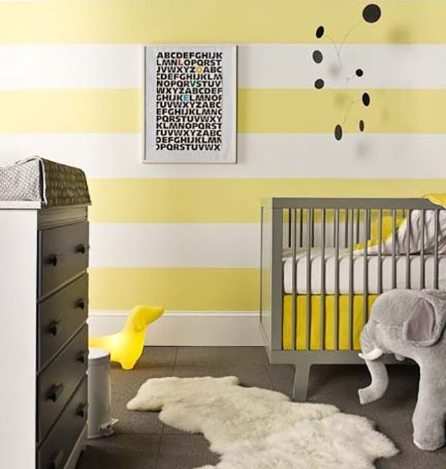 Yellow Grey And Black Nursery   Love The Yellow Striped Wall. Would Be  Pretty Accent With Navy