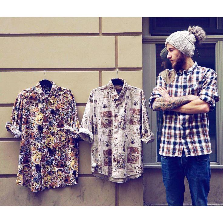 Three shirts / Three styles 🌰 #great #range #vintage #shirts #formen #szputnyikshop #szputnyik #budapest #longsleeve #plaid #lumberjack #safari #style #print #pattern #knitted #beanie #brown #feeling