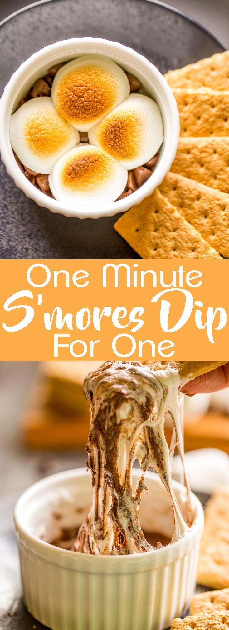 This One Minute S'mores Dip for One is perfect for a late night sweet tooth. Desserts for One   Microwave Desserts   Quick and Easy Desserts   Microwave S'mores   Quick Treats   Chocolate and Marshmallow Dessert