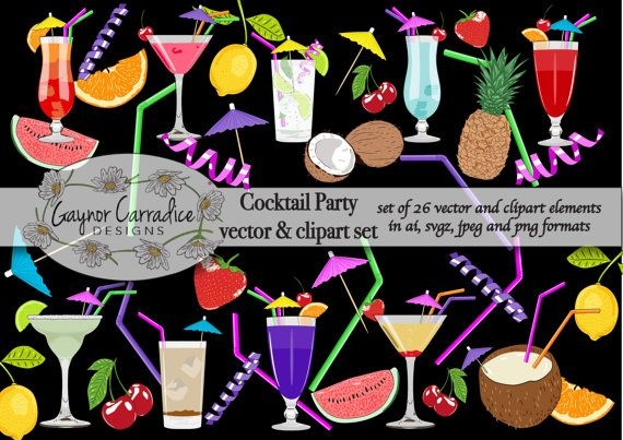 Cocktails vector set cocktails clipart set by GaynorCarradice