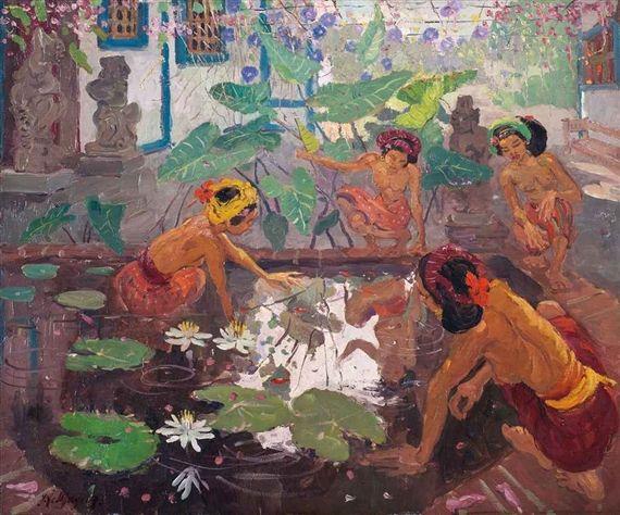 Adrien Jean Le Mayeur de Merprès - Bermain di kolam