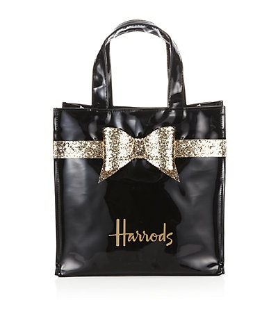 Harrods Glitter Bow Bag Small