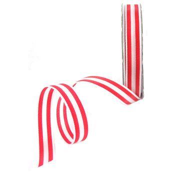 """White & Red 3/8"""" Stripe Ribbon"""