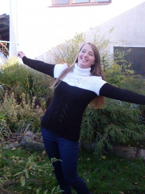 Svetr s rolákem - Černá a bílá... zima svetr rolák pružný teplý dlouhý rukáv