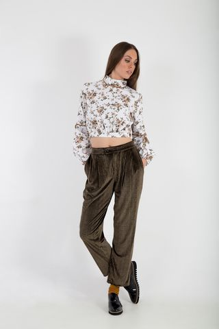 The Herringbone velvet chiffon pants