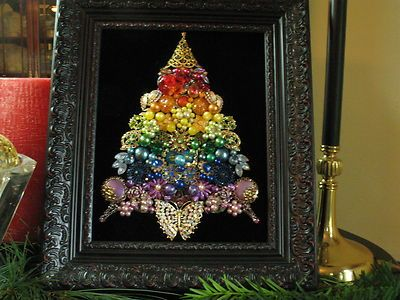 Framed Vintage Jewelry Christmas Tree Rhinestone Rainbow Altered OOAK Art | eBay
