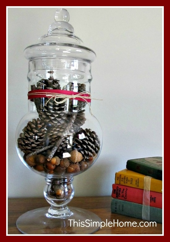 This Simple Home: Fall Apothecary Jar: Pine Cones and Acorns