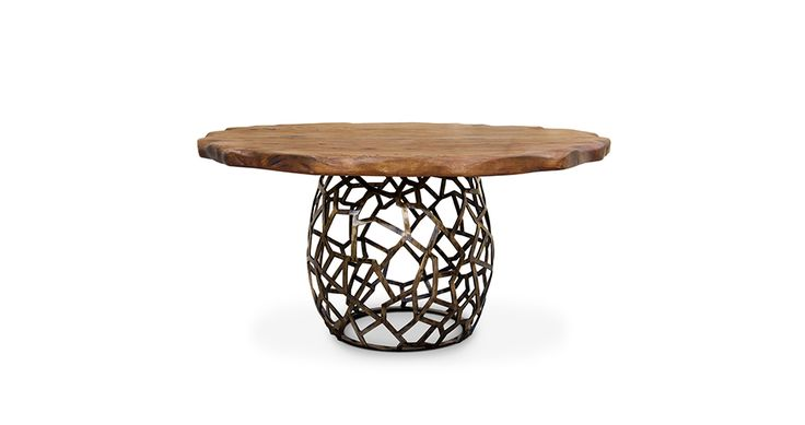 APIS Round Dining Table Mid Century Modern Design by BRABBU it's a pedestal dining table for a modern home decor. Apis Dining Table by Brabbu. Find more here: https://www.brabbu.com/en/casegoods/apis-dining-table/
