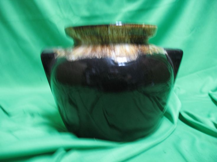 VINTAGE BEAN POT COOKIE JAR ROSEVILLE Pre 1950 USA POTTERY BROWN DRIP No Lid | Pottery & Glass, Pottery & China, Art Pottery | eBay!