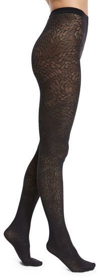 Wolford Zoi Semisheer Patterned Tights, Black