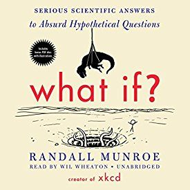 """Another must-listen from my #AudibleApp: """"What If?: Serious Scientific Answers to Absurd Hypothetical Questions"""" by Randall Munroe, narrated by Wil Wheaton."""