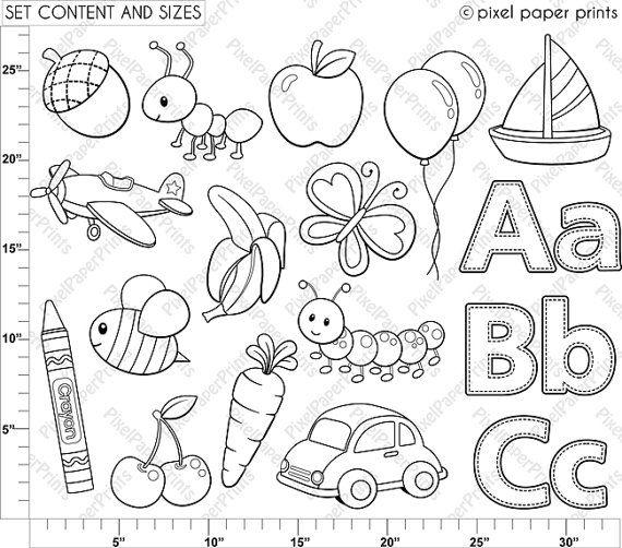Alphabet Digital Stamps Part 1 ABC clip art School