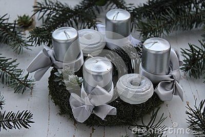 Beautiful Advent wreath on white backgorund