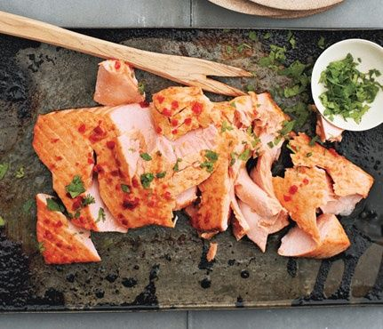 """Salmon with Sriracha Sauce and Lime, Gwyneth Paltrow's """"It's All Good"""" cookbook."""