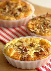 Butternut and Mozzarella Crustless Quiche with Pecan Topping
