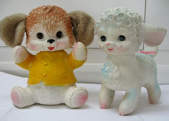Set of two Edward Mobley squeaky rubber toys by FleamarketFloozy, £32.00