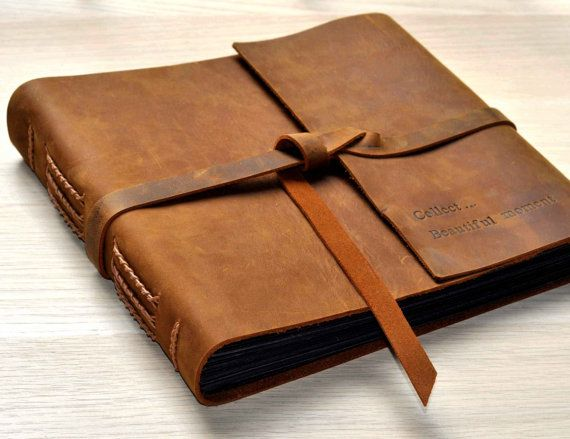 Photo Album,Rustic Leather Photo Album, Scrapbook Style Pages, Genuine Leather Scrapbook Album,Gifts for him, Custom any size