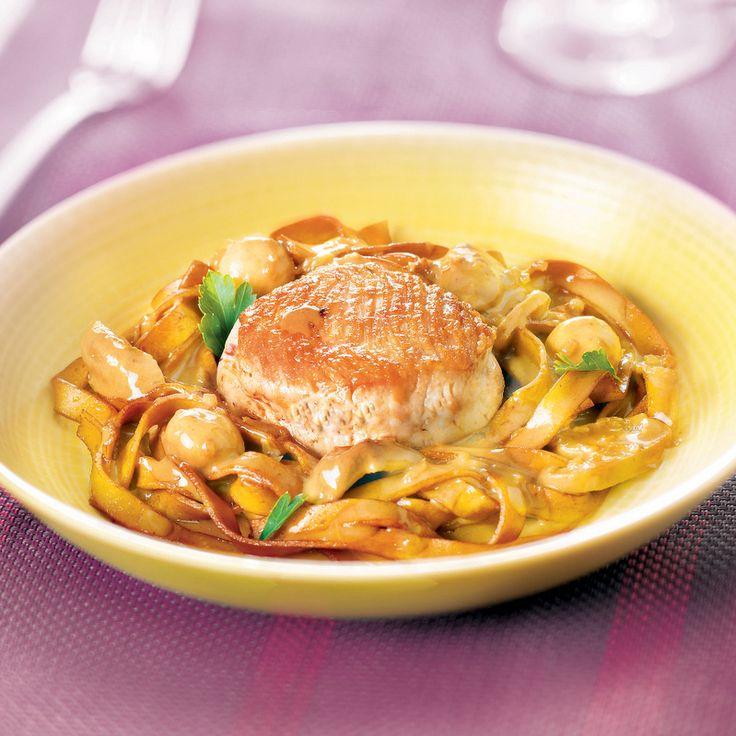 Médaillons de dinde, tagliatelles aux champignons Recette | Weight Watchers