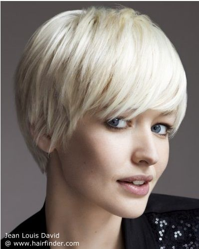 Cut: Jean Louis David's timeless classic: a short choppy bob, feathered at the tips to maintain the cut's femininity. The style can vary as desired… Style: Smoothed forwards, the fringe frames the eyes, whilst shaping the neck to soften the face.