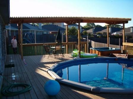 15 best tiki bar ideas images on pinterest outdoor bars for Above ground pool decks with bar