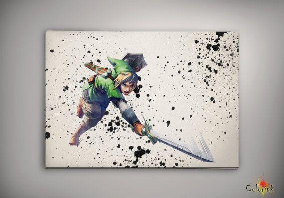 Zelda Wall Decoration : Legend of zelda watercolor illustrations art print